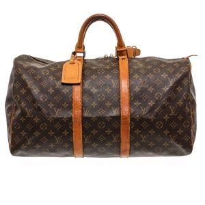 Louis Vuitton Leather Keepall 50 cm Duffle Bag